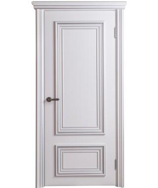 Дверь межкомнатная «Фортуна 2 белая патина серебро глухая»