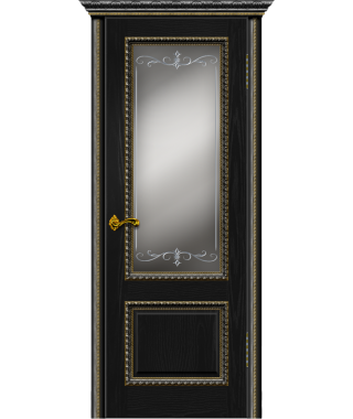 Дверь межкомнатная «Прага черный ясень багет лист остекленная»