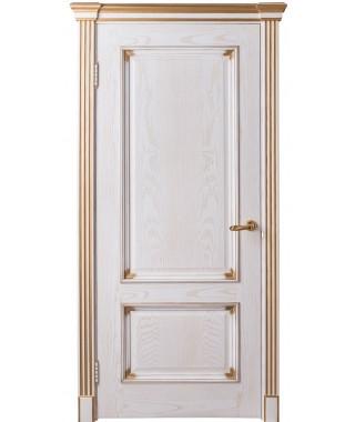 Дверь межкомнатная «Прага белый ясень золото глухая»