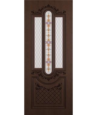 Дверь межкомнатная «Рига ясень коричневый патина черная остекленная»