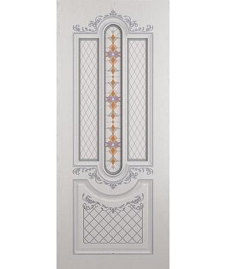 Дверь межкомнатная «Рига ясень серый патина серебро остекленная»