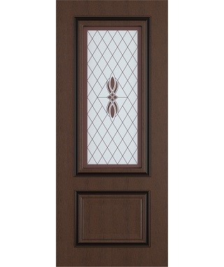 Дверь межкомнатная «Сицилия ясень коричневый патина черная остекленная»