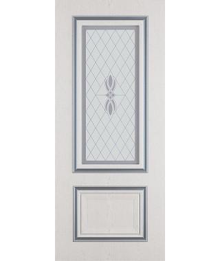 Дверь межкомнатная «Сицилия ясень серый патина серебро остекленная»