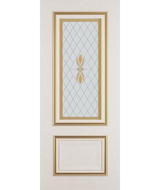 Дверь межкомнатная «Сицилия ясень золотой патина золото остекленная»