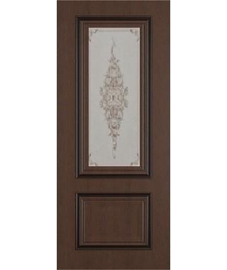 Дверь межкомнатная «Сицилия ясень коричневый патина черная стекло художественное остекленная»