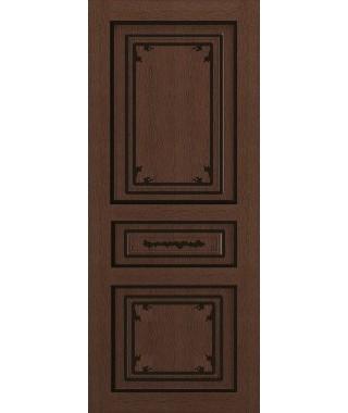 Дверь межкомнатная «Соната коричневый патина черная глухая»