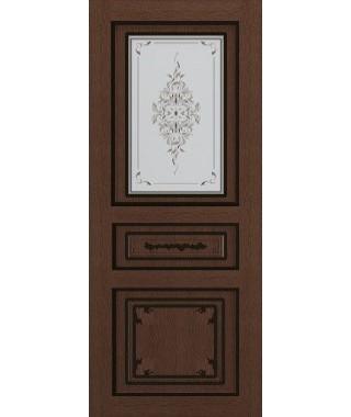 Дверь межкомнатная «Соната ясень коричневый патина черная остекленная»