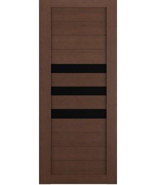 Дверь межкомнатная «Техно 7 ясень коричневый стекло черное остекленная»