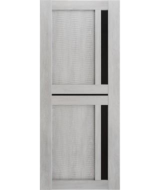 Дверь межкомнатная «Техно 9-3D шале серый стекло черное остекленная»