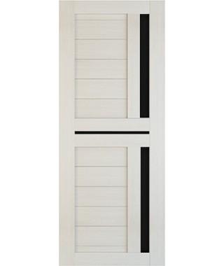 Дверь межкомнатная «Техно 9 лиственница стекло черное остекленная»