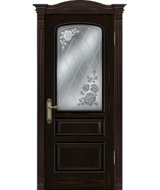 Дверь межкомнатная «Венецианка 2 черный ясень остекленная»