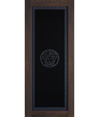 Дверь межкомнатная «Премиум шале мореный стекло черное»
