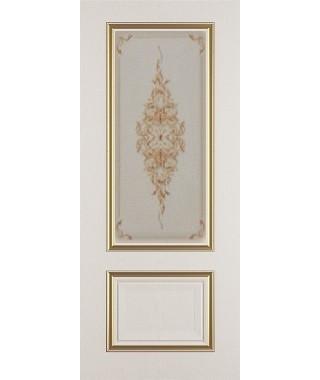 Дверь межкомнатная «Сицилия ясень золотой патина золото стекло художественное остекленная»