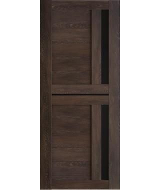 Дверь межкомнатная «Техно 9 шале мореный стекло черное остекленная»