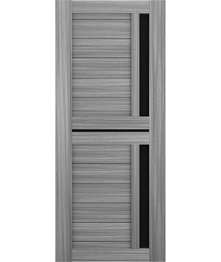 Дверь межкомнатная «Техно 9 дуб пепельный стекло черное остекленная»